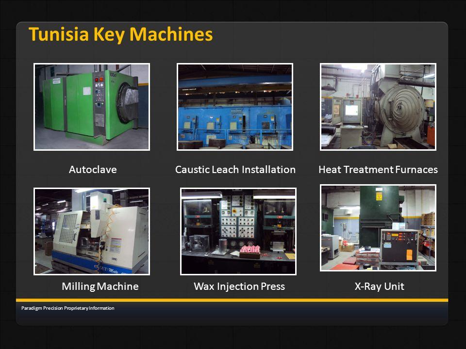 Tunisia Key Machines AutoclaveCaustic Leach InstallationHeat Treatment Furnaces Milling MachineWax Injection PressX-Ray Unit Paradigm Precision Propri
