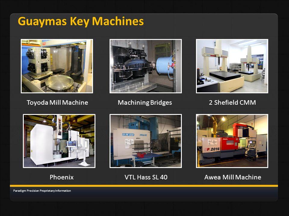 Guaymas Key Machines Toyoda Mill MachineMachining Bridges2 Shefield CMM PhoenixVTL Hass SL 40Awea Mill Machine Paradigm Precision Proprietary Informat