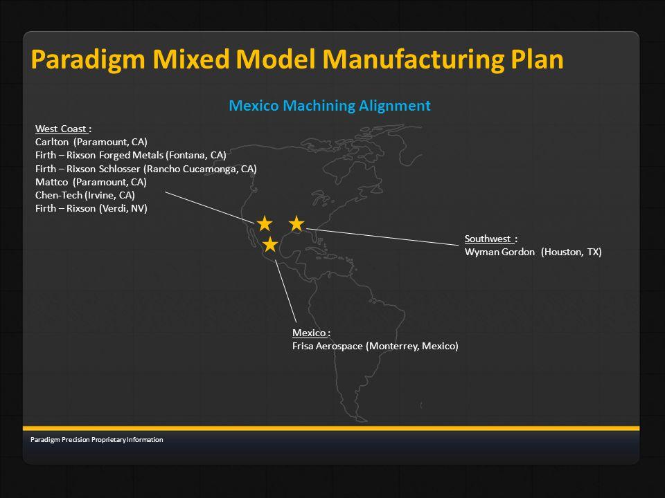 Paradigm Mixed Model Manufacturing Plan Mexico Machining Alignment Paradigm Precision Proprietary Information West Coast : Carlton (Paramount, CA) Fir
