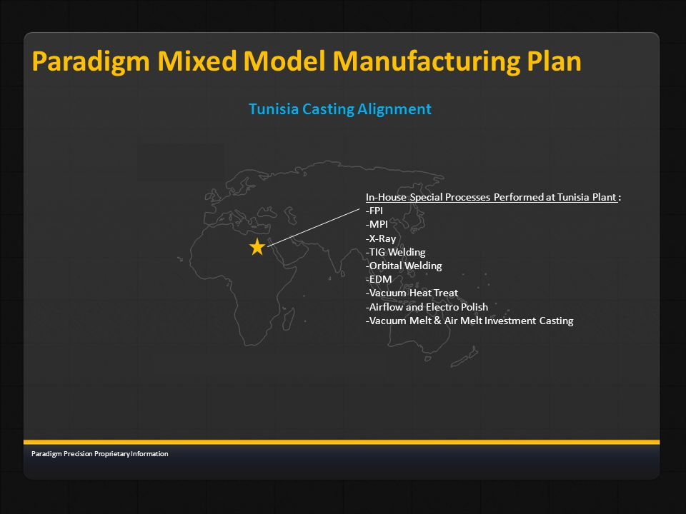 Paradigm Mixed Model Manufacturing Plan Tunisia Casting Alignment Paradigm Precision Proprietary Information In-House Special Processes Performed at T