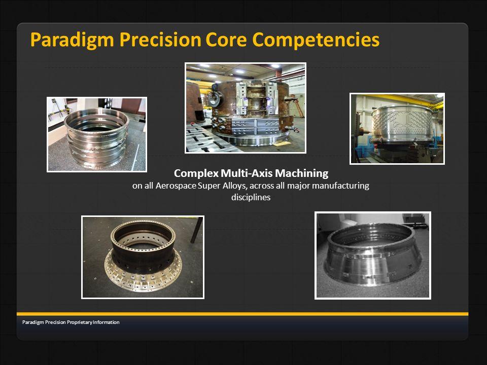Paradigm Precision Core Competencies Complex Multi-Axis Machining on all Aerospace Super Alloys, across all major manufacturing disciplines Paradigm P