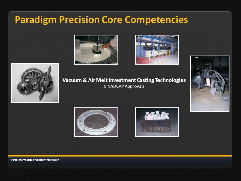 Paradigm Precision Core Competencies Vacuum & Air Melt Investment Casting Technologies 9 NADCAP Approvals Paradigm Precision Proprietary Information
