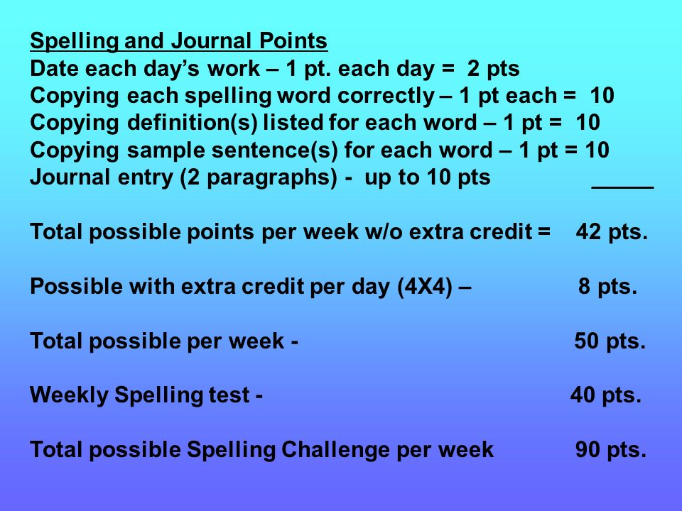 Spelling and Journal Points Date each days work – 1 pt.