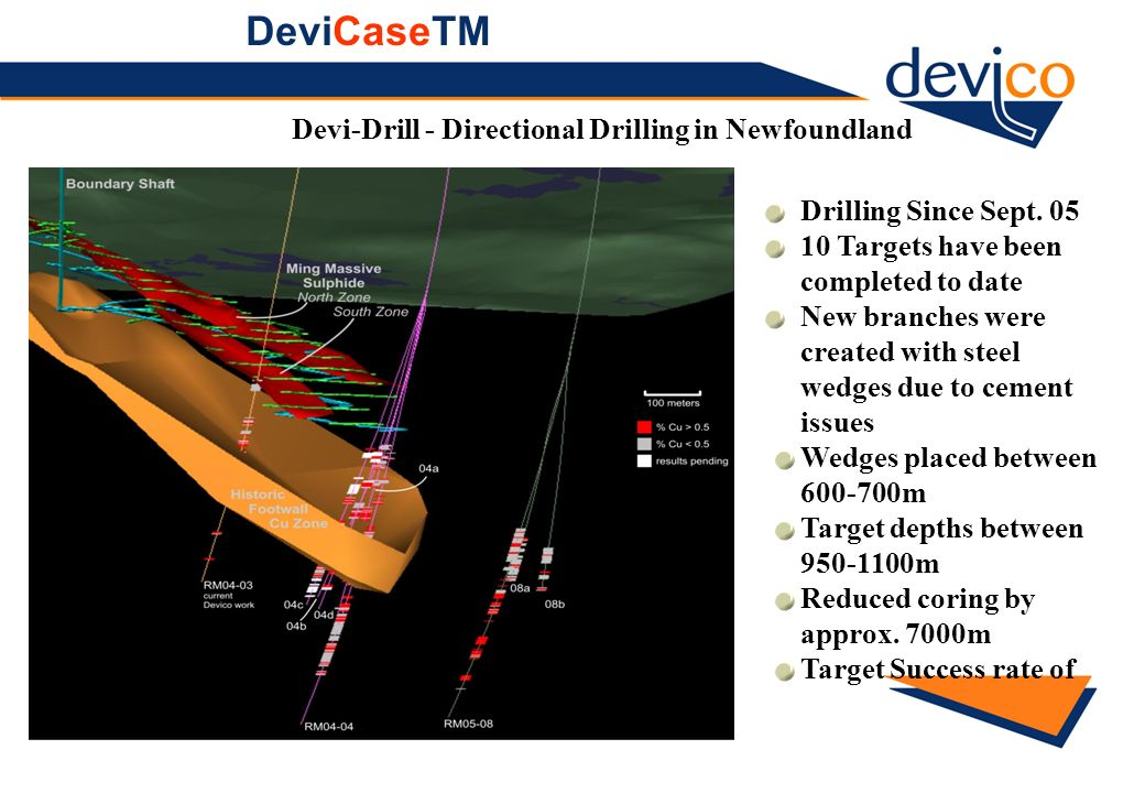 Devi-Drill - Directional Drilling in Newfoundland Drilling Since Sept. 05 10 Targets have been completed to date New branches were created with steel
