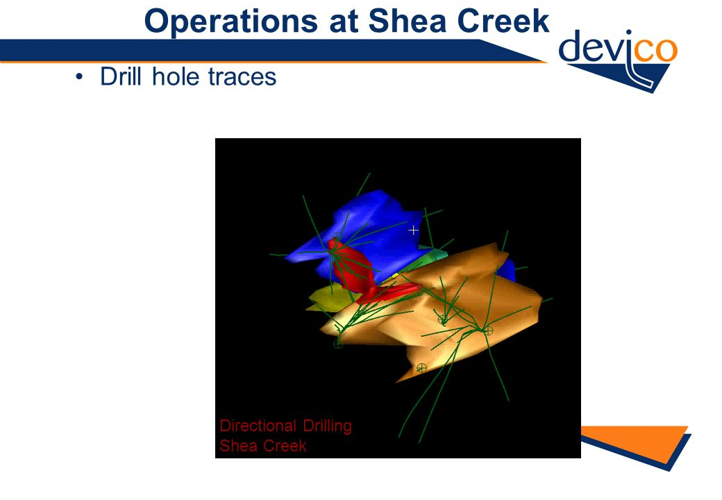 Operations at Shea Creek Drill hole traces Directional Drilling Shea Creek
