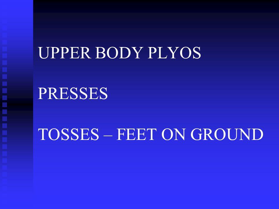 UPPER BODY PLYOS PRESSES TOSSES – FEET ON GROUND