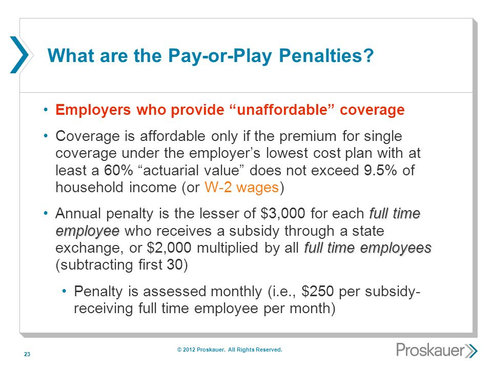 23 What are the Pay-or-Play Penalties.