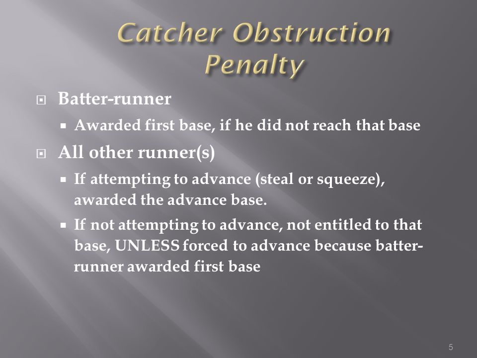 Batter-runner Awarded first base, if he did not reach that base All other runner(s) If attempting to advance (steal or squeeze), awarded the advance base.