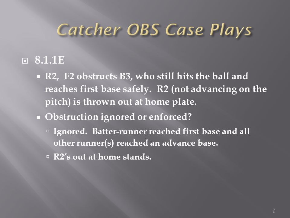 Ground ball to an infielder Technically Type 1 Batter-Runner awarded 1 st base Pop-up or line drive to an infielder If ball is caught, batter-runner is out; no obstruction If ball is not caught, (and is a fair ball), BR will be awarded 1 st base Ball hit to the outfield If ball is caught, BR is out If ball is not caught, BR will always be protected to at least 1 st base.