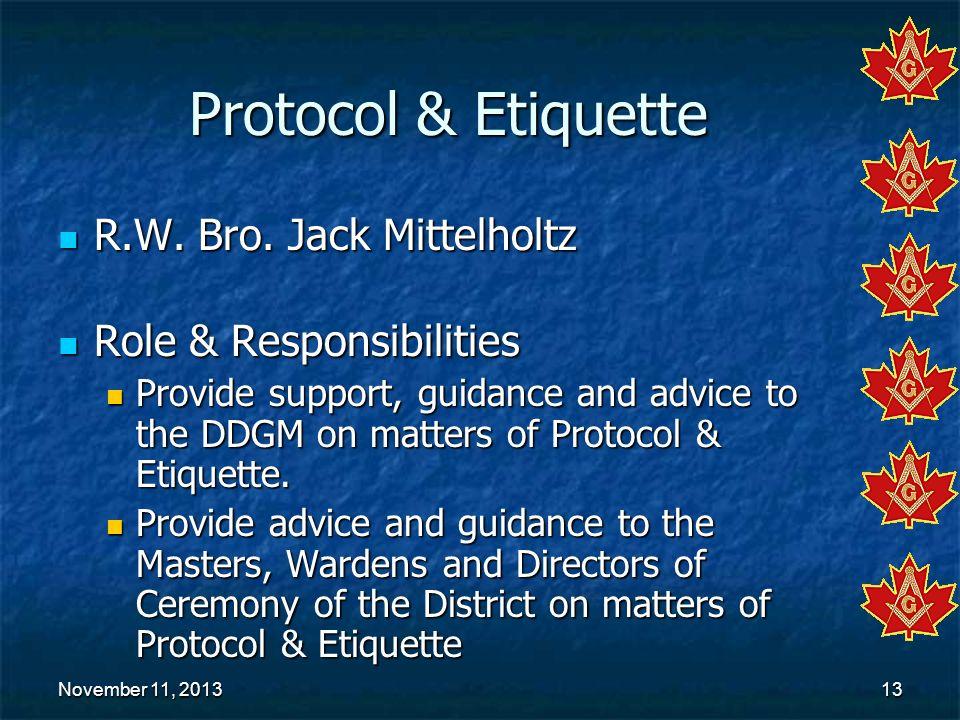 November 11, 2013November 11, 2013November 11, 201313 Protocol & Etiquette R.W. Bro. Jack Mittelholtz R.W. Bro. Jack Mittelholtz Role & Responsibiliti