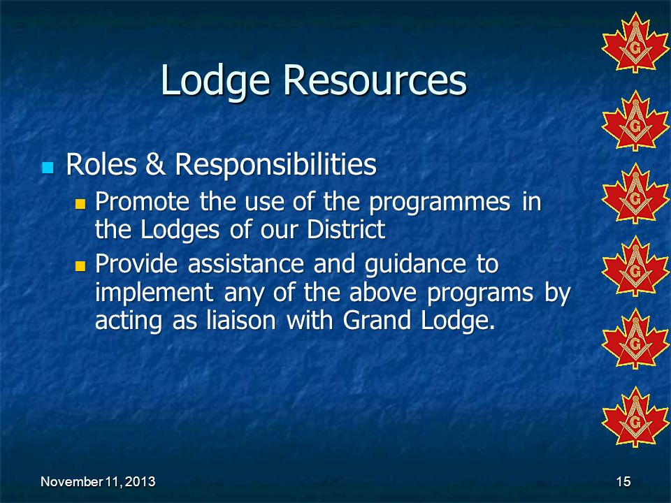 November 11, 2013November 11, 2013November 11, 201315 Lodge Resources Roles & Responsibilities Roles & Responsibilities Promote the use of the program