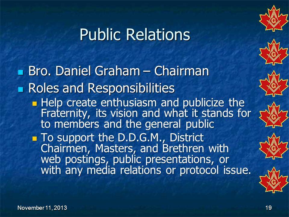 November 11, 2013November 11, 2013November 11, 201319 Public Relations Bro. Daniel Graham – Chairman Bro. Daniel Graham – Chairman Roles and Responsib