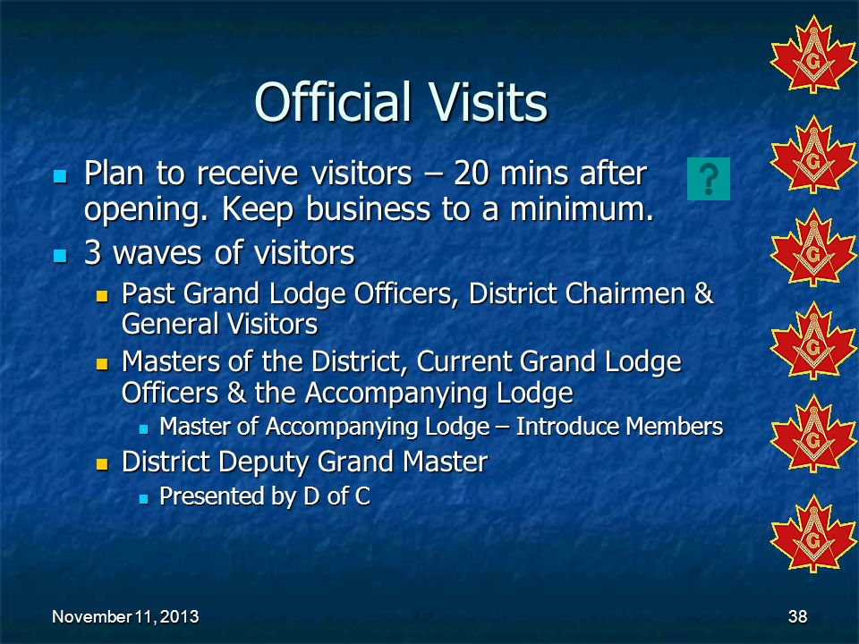 November 11, 2013November 11, 2013November 11, 201338 Official Visits Plan to receive visitors – 20 mins after opening. Keep business to a minimum. Pl