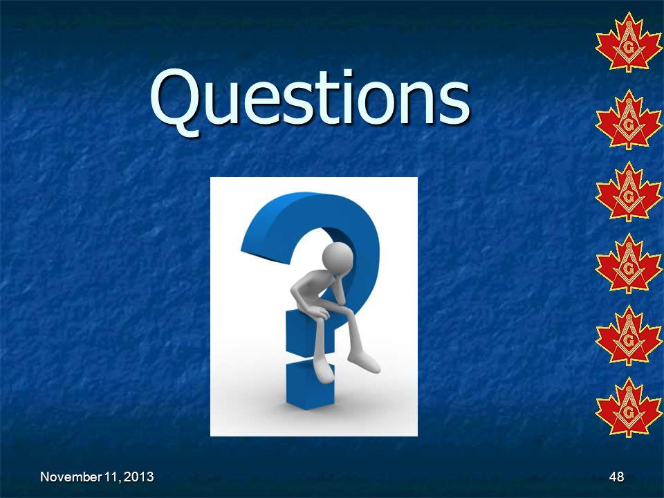 November 11, 2013November 11, 2013November 11, 201348 Questions