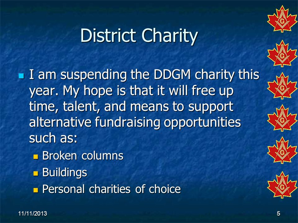 District Charity I am suspending the DDGM charity this year. My hope is that it will free up time, talent, and means to support alternative fundraisin