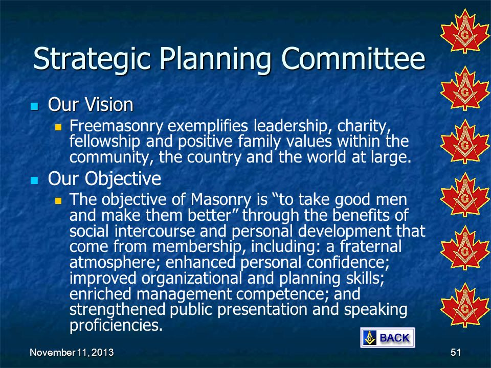 November 11, 2013November 11, 2013November 11, 201351 Strategic Planning Committee Our Vision Our Vision Freemasonry exemplifies leadership, charity,
