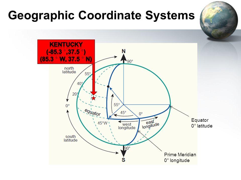 Geographic Coordinate Systems Equator 0° latitude Prime Meridian 0° longitude