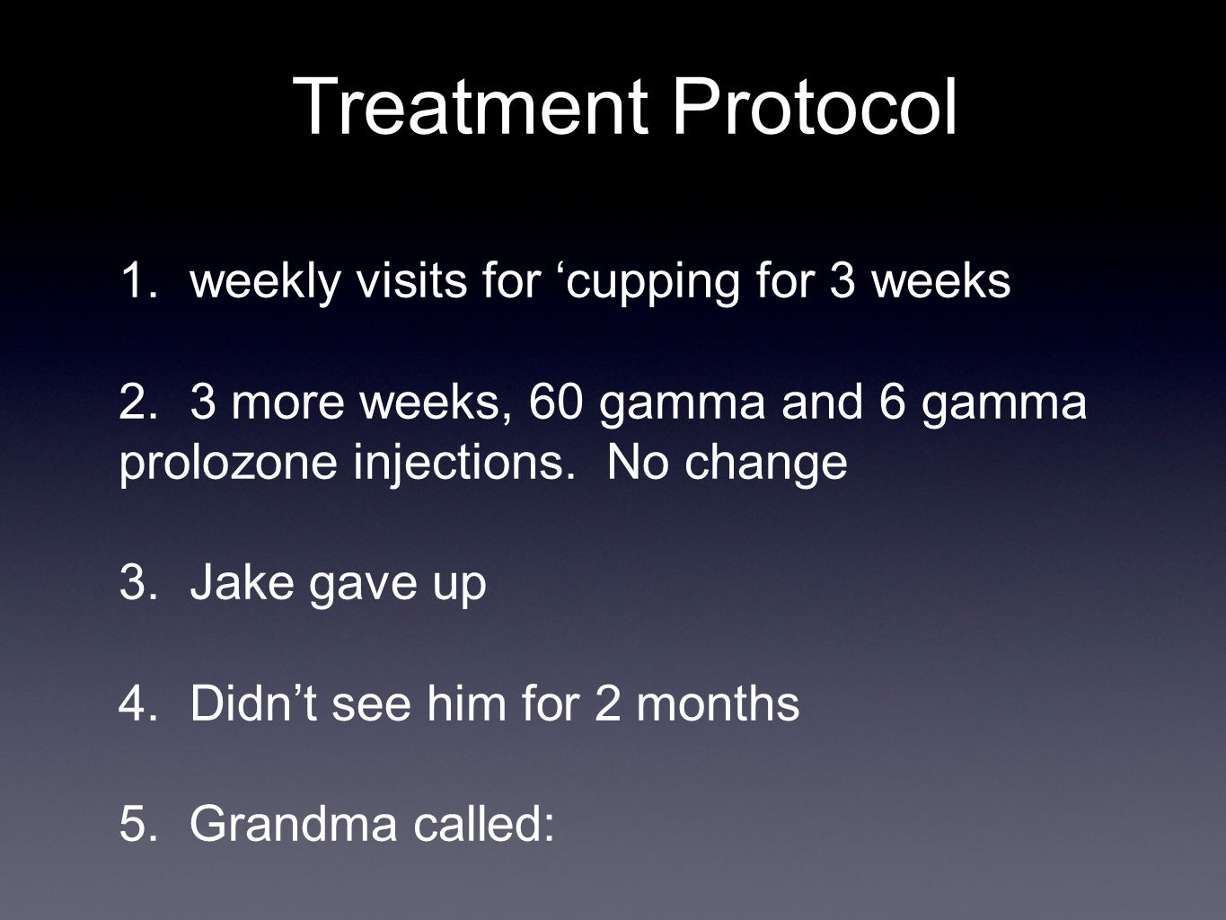 Treatment Protocol 1. weekly visits for cupping for 3 weeks 2.