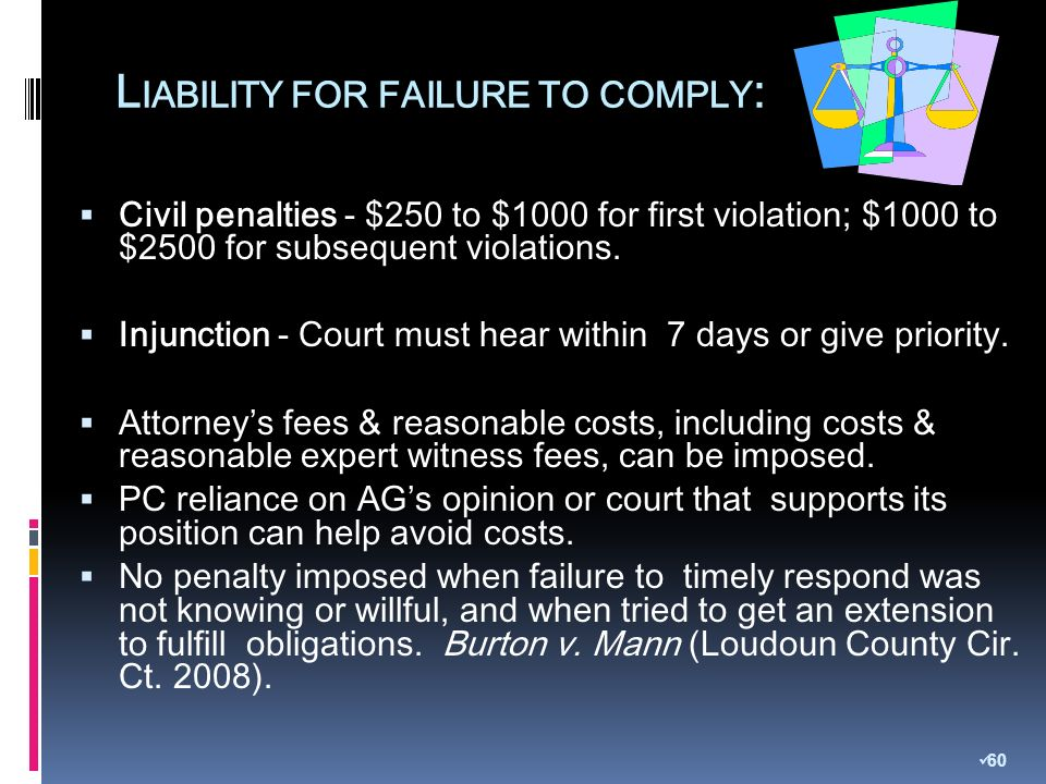 L IABILITY FOR FAILURE TO COMPLY : Civil penalties - $250 to $1000 for first violation; $1000 to $2500 for subsequent violations.
