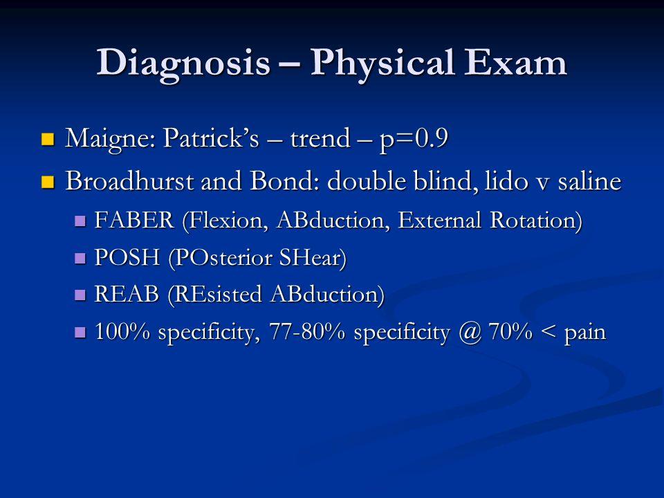 Diagnosis – Physical Exam Maigne: Patricks – trend – p=0.9 Maigne: Patricks – trend – p=0.9 Broadhurst and Bond: double blind, lido v saline Broadhurs