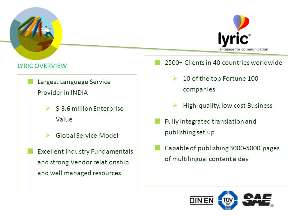 LYRIC OVERVIEW 2500+ Clients in 40 countries worldwide 10 of the top Fortune 100 companies High-quality, low cost Business Fully integrated translation and publishing set up Capable of publishing 3000-5000 pages of multilingual content a day Largest Language Service Provider in INDIA $ 3.6 million Enterprise Value Global Service Model Excellent Industry Fundamentals and strong Vendor relationship and well managed resources