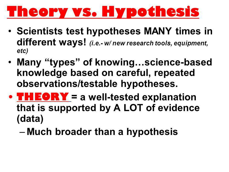 Theory vs. Hypothesis Scientists test hypotheses MANY times in different ways! (i.e.- w/ new research tools, equipment, etc) Many types of knowing…sci