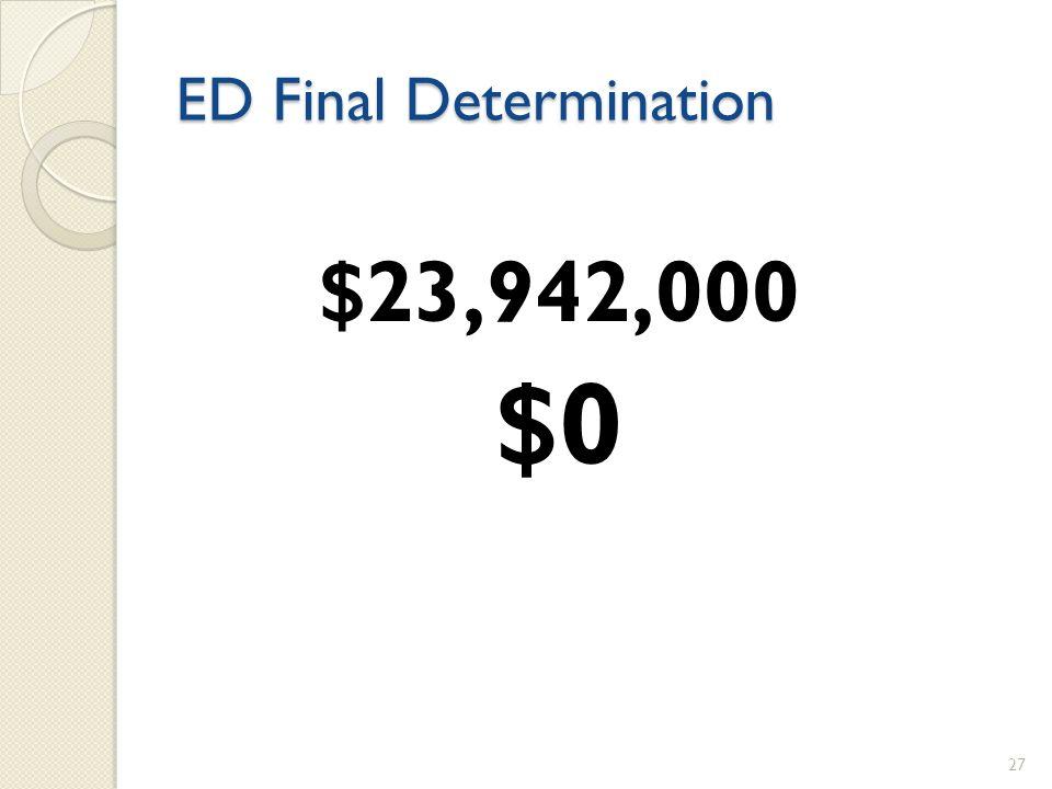ED Final Determination $23,942,000 $0 27