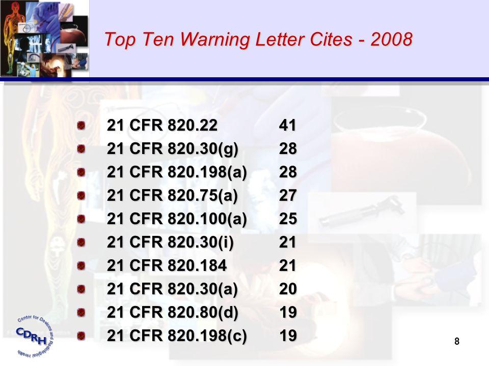 8 Top Ten Warning Letter Cites - 2008 21 CFR 820.22 41 21 CFR 820.30(g) 28 21 CFR 820.198(a) 28 21 CFR 820.75(a) 27 21 CFR 820.100(a) 25 21 CFR 820.30