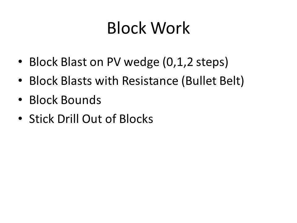 Block Work Block Blast on PV wedge (0,1,2 steps) Block Blasts with Resistance (Bullet Belt) Block Bounds Stick Drill Out of Blocks