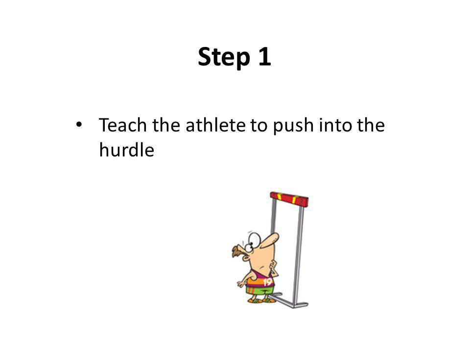 Step 1 Teach the athlete to push into the hurdle