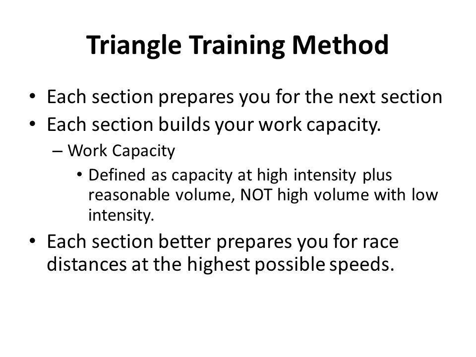 Triangle Training Method Each section prepares you for the next section Each section builds your work capacity. – Work Capacity Defined as capacity at