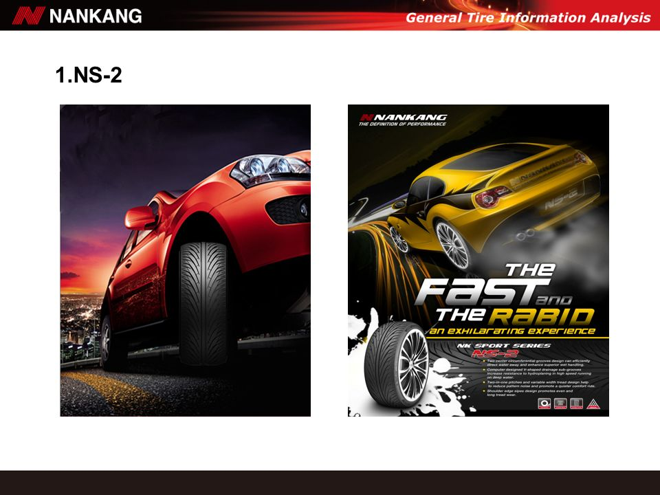NANKANG PERFORMANCE SPORT TIRE, NS-2, THE UNIQUE V-SHAPED PATTERN CAN DRAIN MORE EFFICIENTLY IN HIGH SPEED CONDITIONS.