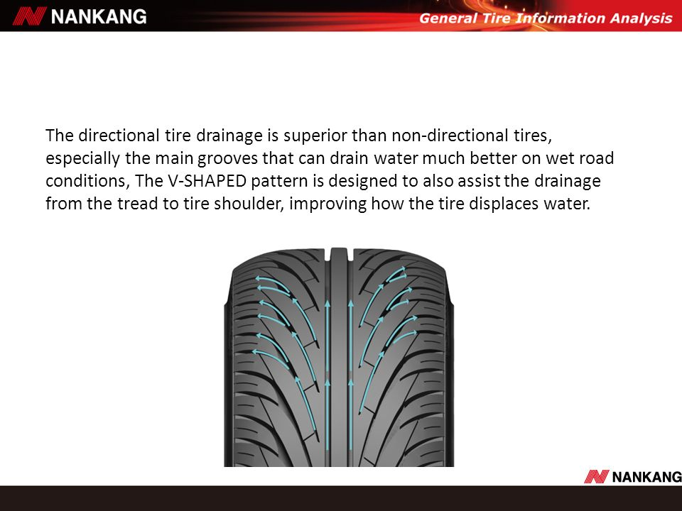 The directional tire drainage is superior than non-directional tires, especially the main grooves that can drain water much better on wet road conditi