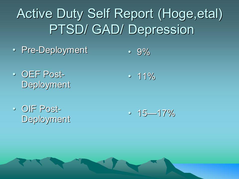 Active Duty Self Report (Hoge,etal) PTSD/ GAD/ Depression Pre-DeploymentPre-Deployment OEF Post- DeploymentOEF Post- Deployment OIF Post- DeploymentOI