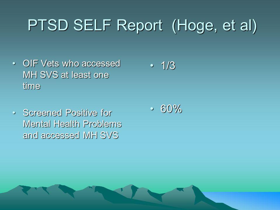 PTSD SELF Report (Hoge, et al) PTSD SELF Report (Hoge, et al) OIF Vets who accessed MH SVS at least one timeOIF Vets who accessed MH SVS at least one