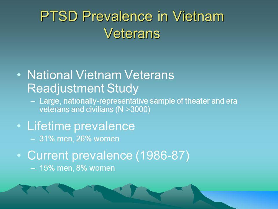 PTSD Prevalence in Vietnam Veterans National Vietnam Veterans Readjustment Study –Large, nationally-representative sample of theater and era veterans