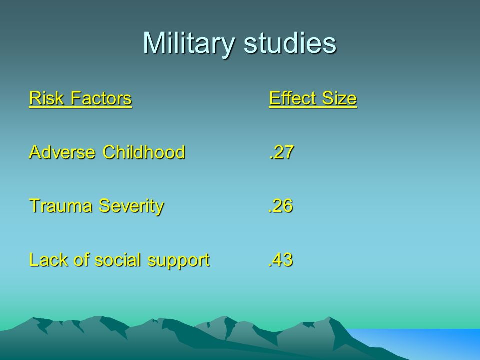 Military studies Risk FactorsEffect Size Adverse Childhood.27 Trauma Severity.26 Lack of social support.43