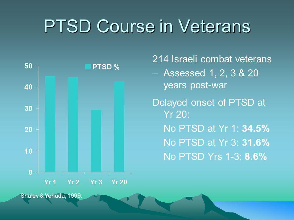 PTSD Course in Veterans Shalev & Yehuda, 1999. 214 Israeli combat veterans – –Assessed 1, 2, 3 & 20 years post-war Delayed onset of PTSD at Yr 20: No