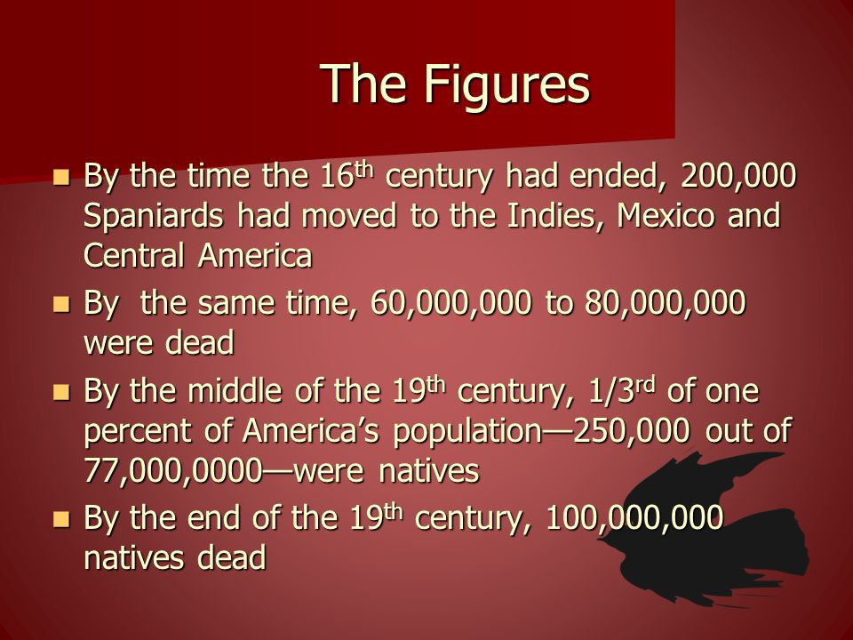 The Figures By the time the 16 th century had ended, 200,000 Spaniards had moved to the Indies, Mexico and Central America By the time the 16 th centu