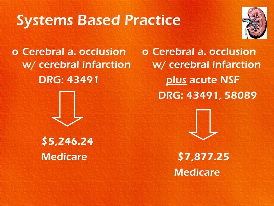 Systems Based Practice oCerebral a. occlusion w/ cerebral infarction DRG: 43491 $5,246.24 Medicare oCerebral a. occlusion w/ cerebral infarction plus