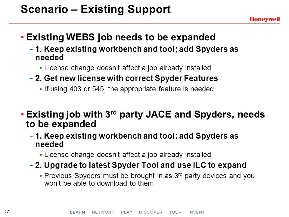 17 Scenario – Existing Support Existing WEBS job needs to be expanded - 1.