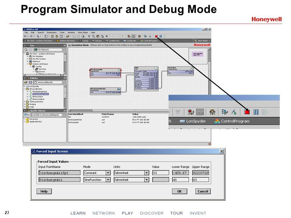 23 Program Simulator and Debug Mode