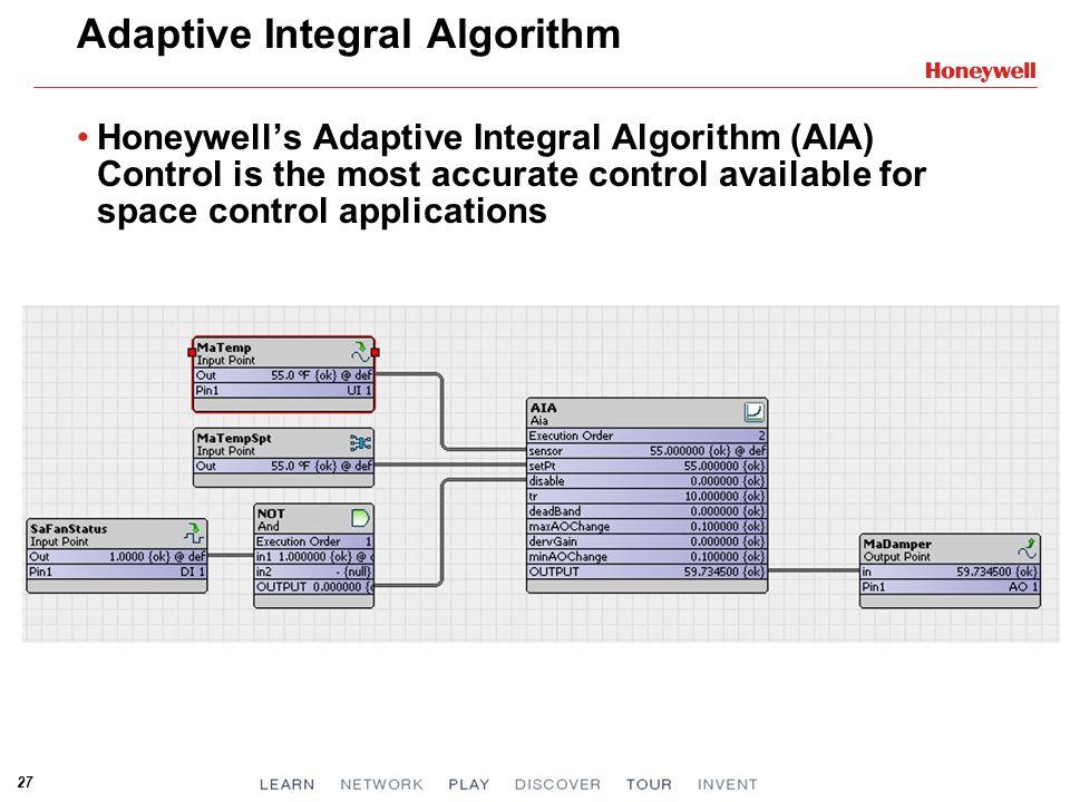 27 Adaptive Integral Algorithm Honeywells Adaptive Integral Algorithm (AIA) Control is the most accurate control available for space control applicati