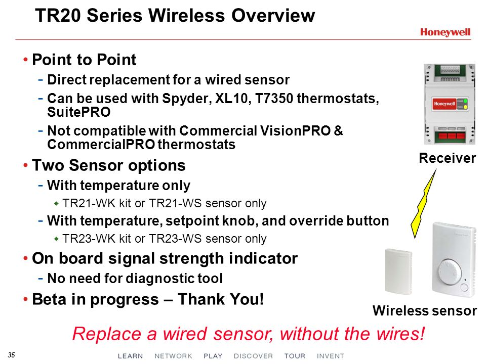 35 TR20 Series Wireless Overview Point to Point - Direct replacement for a wired sensor - Can be used with Spyder, XL10, T7350 thermostats, SuitePRO - Not compatible with Commercial VisionPRO & CommercialPRO thermostats Two Sensor options - With temperature only TR21-WK kit or TR21-WS sensor only - With temperature, setpoint knob, and override button TR23-WK kit or TR23-WS sensor only On board signal strength indicator - No need for diagnostic tool Beta in progress – Thank You.