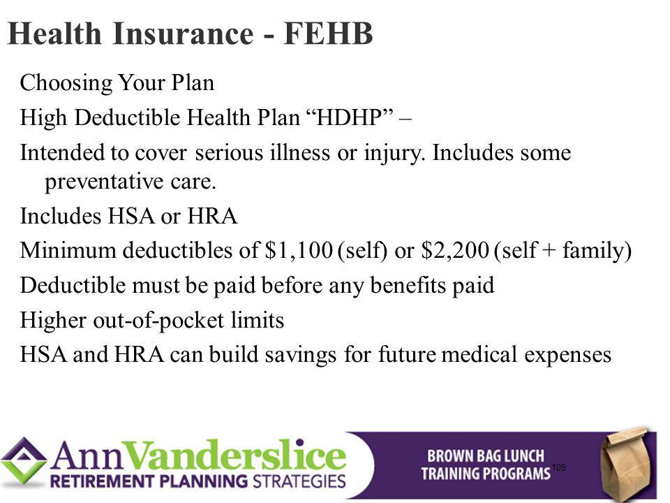 109 Choosing Your Plan High Deductible Health Plan HDHP – Intended to cover serious illness or injury.