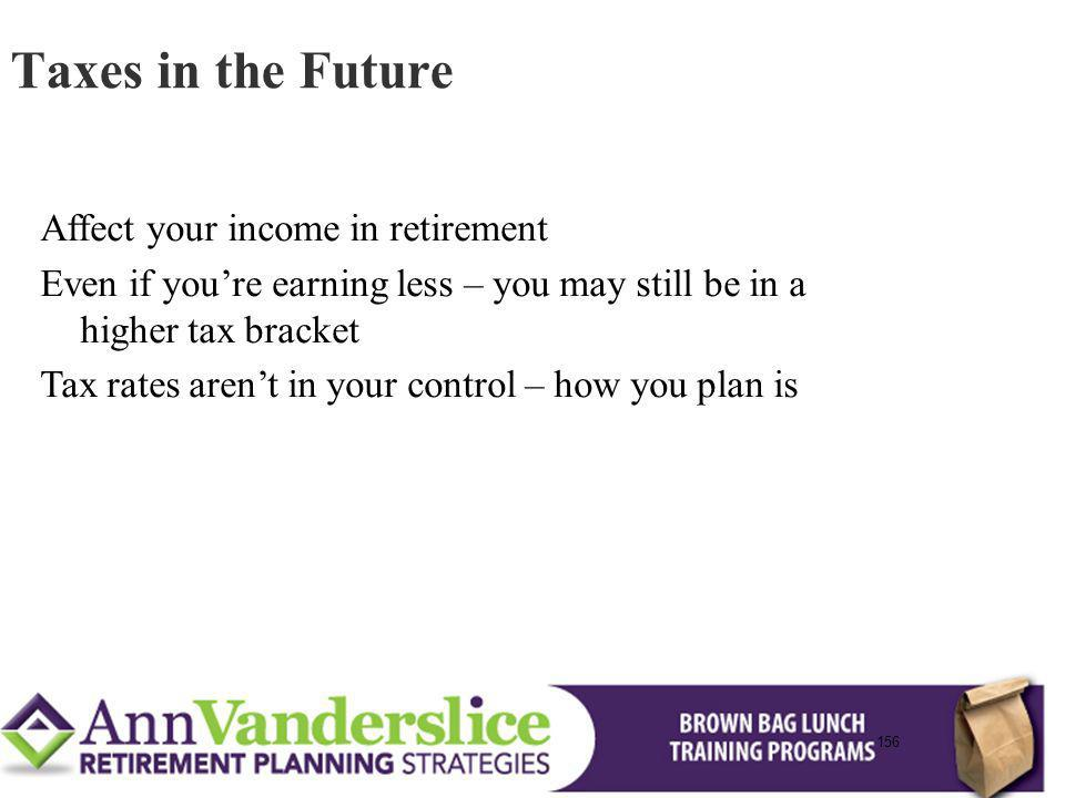 156 Affect your income in retirement Even if youre earning less – you may still be in a higher tax bracket Tax rates arent in your control – how you plan is Taxes in the Future 156