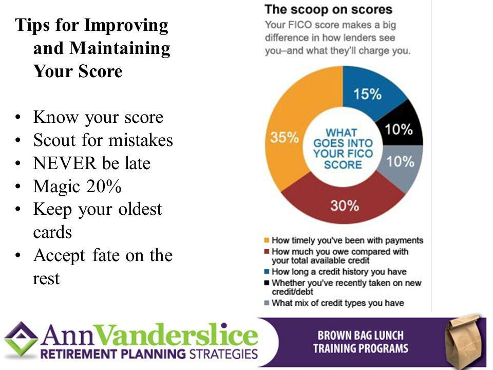 Tips for Improving and Maintaining Your Score Know your score Scout for mistakes NEVER be late Magic 20% Keep your oldest cards Accept fate on the rest