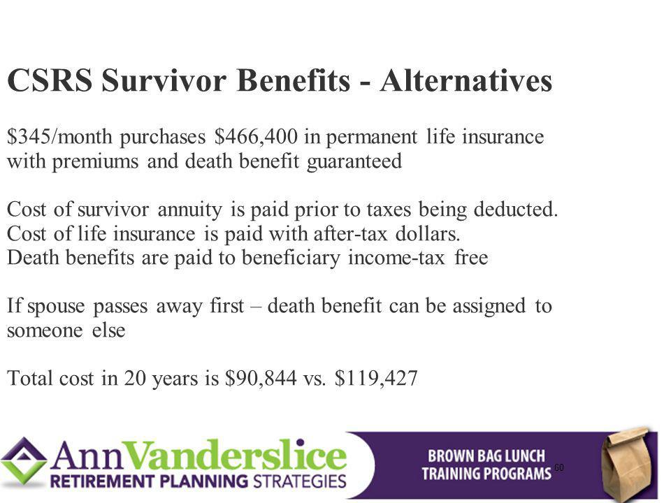 60 CSRS Survivor Benefits - Alternatives $345/month purchases $466,400 in permanent life insurance with premiums and death benefit guaranteed Cost of survivor annuity is paid prior to taxes being deducted.