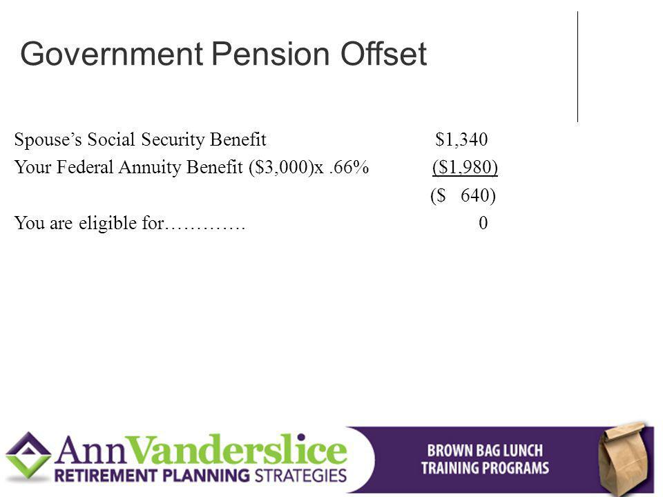 Spouses Social Security Benefit $1,340 Your Federal Annuity Benefit ($3,000)x.66% ($1,980) ($ 640) You are eligible for………….