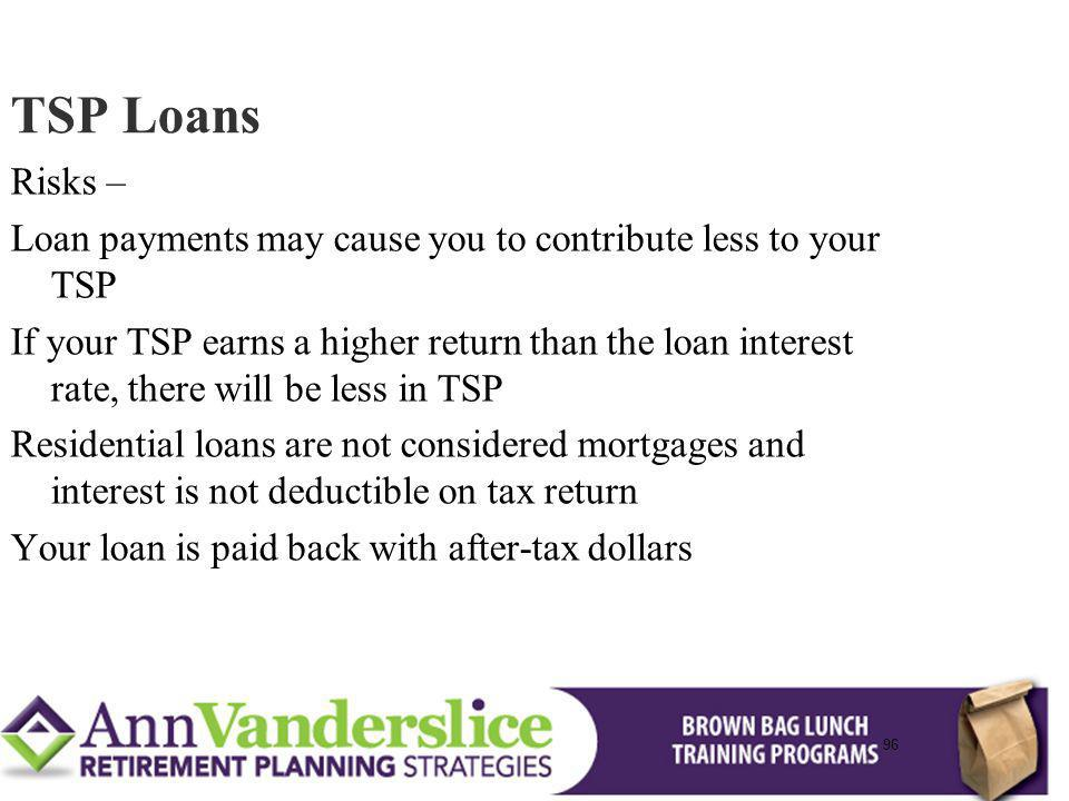 96 Risks – Loan payments may cause you to contribute less to your TSP If your TSP earns a higher return than the loan interest rate, there will be less in TSP Residential loans are not considered mortgages and interest is not deductible on tax return Your loan is paid back with after-tax dollars TSP Loans 96